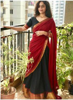Half Saree Lehenga, Lehenga Saree Design, Saree Look, Lehenga Designs, Saree Dress, Indian Gowns Dresses, Indian Fashion Dresses, Indian Designer Outfits, Kerala Saree Blouse Designs