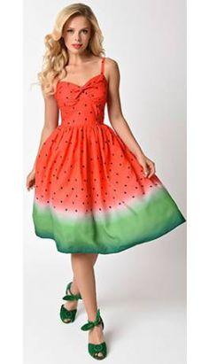 Unique Vintage 1950s Style Watermelon Ombre Chateau Swing Dress