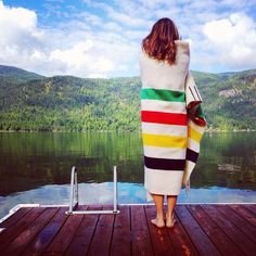 Majority of Lori's photographic work is self portrait photography, she uses as device to convey ongoing personal storyline, place and time. Creative Self Portraits, Creative Portrait Photography, Cottage Living, Cottage Style, Hudson Bay Blanket, Lakeside Living, Summer Books, Girls Camp, Cover Up