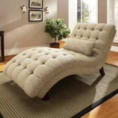 "Chaise longue. (""Longue"" is French for long, and somehow the letters got scrambled in English to create ""lounge."" It's a long chair.)"