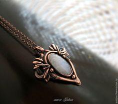 Copper pendant with belomoritom (autore Galina)  кулон с лунным камнем