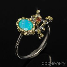 Handmade Fine Art Natural Blue Opal 925 Sterling Silver Ring Size 8.25/R36489 #APBJewelry #Ring