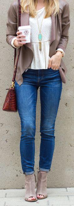 draped front jacket & peep toe booties / @livvylandblog LivvyLand, Austin TX fashion blog
