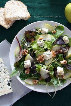 Insalata con mele noci e formaggio ricetta light e gustosa per celiaci - apple, walnut and cheese salad recipe