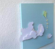 Paper Cut Silhouette Kite and Clouds: Art for Nursery, Art for Children's Room, Room Decor