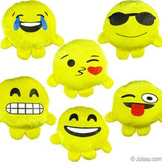 MINI PLUSH EMOJI BUDDIES. With adorable emoji smiley faces imprinted on super-soft velour. Assorted styles. Ideal for Easter basket treats and party favors.  Size 5.5 Inches