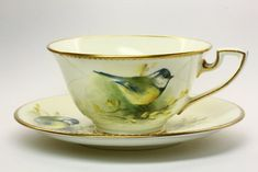 Royal Worcester Blue Tit Cup and Saucer painted by Edward Townsend and signed E. Townsend