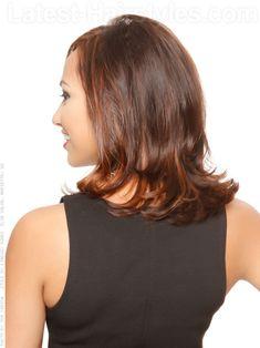 Medium Length Brunette Style Waves Back View