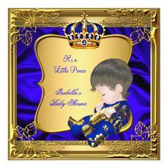 Ouro dourado do azul do chá de fraldas do príncipe convite quadrado 13.35 x 13.35cm