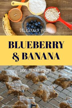 These blueberry banana dog treats pack a delicious, and nutritious, punch. With creamy almond butter, and healthy rolled oats as well this dog treat recipe will be a favorite in no time at all. Banana Dog Treat Recipe, Easy Dog Treat Recipes, Puppy Treats, Diy Dog Treats, Homemade Dog Cookies, Homemade Dog Food, Dog Biscuit Recipes, Dog Food Recipes, Vegetarian Dog Food Recipe