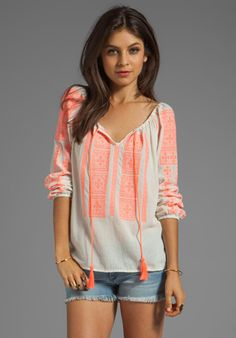 VELVET Adele Embroidered Crinkle Gauze Blouse in Milk/Coral at Revolve Clothing