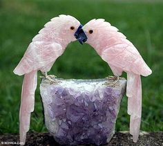 Rose quartz and amethyst statuette, 'Lovebirds' by NOVICA