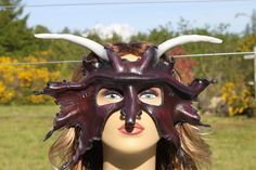 Leather horned leaf mask by TBTOBEDESIGNED1 on Etsy