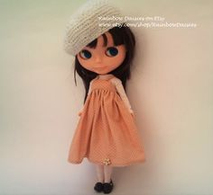 Light brown polka dot pinafore dress  for Blythe by RainbowDaisies