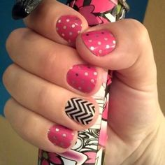 Are you an Icy Pink Polka with Black and White Chevron Cute as heck!