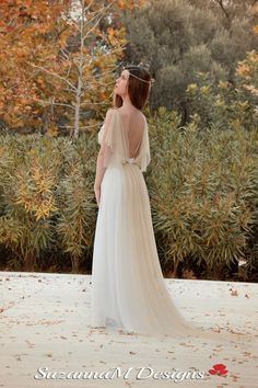 Wedding Dress Long Fairy Wedding Gown Romantic by SuzannaMDesigns