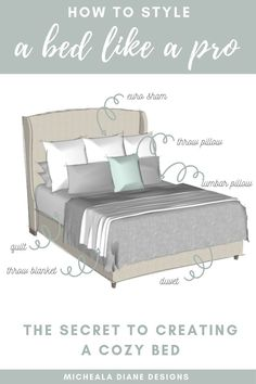 How to Style a Bed Like a Pro - Sharing all my designer tips and tricks on how to style a bed to create a designer look, that is not only cozy, but budget-friendly! How to style a king bed Bedding Master Bedroom, Master Bedroom Makeover, Dream Bedroom, Home Bedroom, Queen Bedding, Budget Bedroom, Modern Bedroom, Spare Bedroom Ideas On A Budget, King Size Bedding