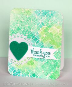 Card by Kelly Rasmussen featuring the Looped Flower background stamp
