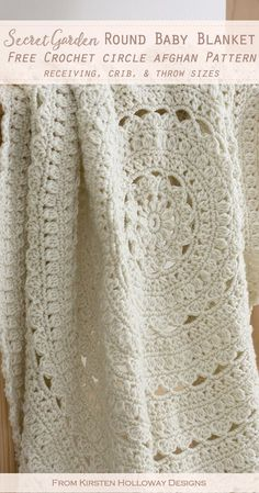 This free crochet circle afghan pattern makes a beautiful round baby blanket! It comes in 5 banket sizes: receiving blanket, crib blanket and throw. Crochet this lacy round blanket pattern as a gift for babies, toddlers, or yourself! Shells and cluster stitches are used to create a pretty flower motif.