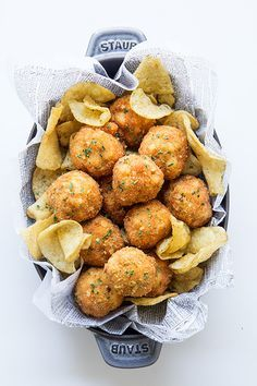 {Fried macaroni and cheese balls.}