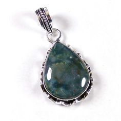 Christmas Sale !! Green Moss Agate Gemstone 925 Silver Plated Necklace Pendant #Shrijewelers_7 #Pendant