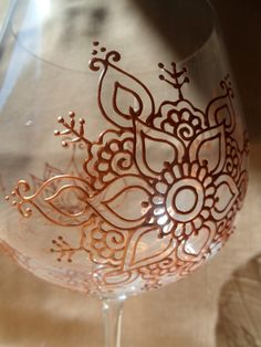 LOTUS & FLOWER Mehndi style designs wine glasses. Custom and PERSONALIZED (option) set 2. Pearl White, Gold or Pewter finish