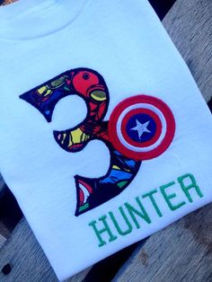 6cf77fb19 Hand Stitched Custom Super Heroes Birthday Shirt with Marvel Fabric and  Number or Initial of Choice | Walker's 3rd Birthday!