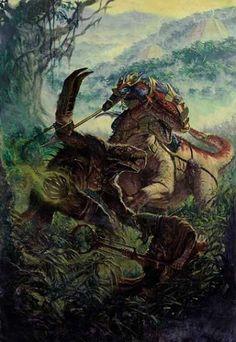 Lizardmen veteran on Carnotaurus facing a Skaven of Clan Pestilence.
