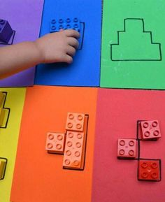 Color block puzzles Puzzle from Lego Duplo. To promote the spatial imagination or whatever. Color block puzzles Puzzle from Lego Duplo. To promote the spatial imagination or whatever. Montessori Activities, Color Activities, Educational Activities, Learning Activities, Activities For Kids, Cognitive Activities, Math Games For Kids, Kids Fun, Toddler Learning