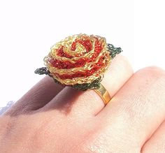 Rose ring, crochet red and gold wire with gold plated adjustable band