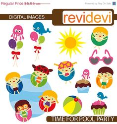80% OFF SALE Time for Pool Party Clipart 07313  by revidevi