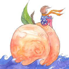 Peach -  Ocean - James and the Giant Peach - Art Print - Fairy Tale - Kids Bedroom - Nursery