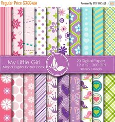 40% off My Little Girl Paper Pack 20 Printable by SheryKDesigns
