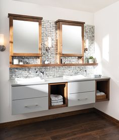 Bath furniture from Dura Supreme can be outfitted with charming details like beveled legs and rattan drawer fronts