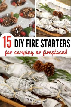 These DIY fire starters for camping (or anytime you need a fire)make it SUPER easy to start a fire - anytime! They're made with things you probably already have in the house. Take one of these DIY fire starters on your next camping trip! #camping #diy #campingtips Christmas Candles, Rustic Christmas, Christmas Crafts, Christmas Ideas, Homemade Kids Gifts, Diy Gifts, Diy Fruit Fly Trap, Homemade Fire Starters, Wood Burning Tips