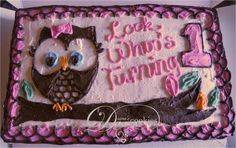cake ideas for an owl birthday cake   ... to see the size of the cake in the photo- this is a half sheet cake