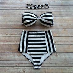 Bow Bandeau Bikini - Vintage Style High Waisted Pin-up Swimwear - Bold Stripe Print - Unique & So Cute! USD) by BikinibooVintage Plus Size Swimwear Women Bikini High Waist Swimsuit Halter Top Bathing Suits Retro Push Up B❤ Bikiniboo Vintage Inspire Bow Bandeau, Bandeau Bikini Set, The Bikini, Push Up Bikini, Striped Bikini, Floral Bikini, Black Bandeau, Black Bikini, Sexy Bikini