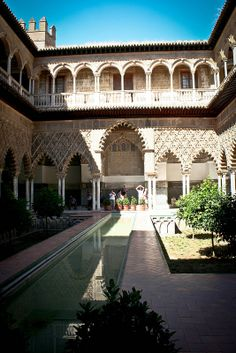 Seville, Spain by OwlKnitYou Andalusia Travel, Garden Pool, Places To Travel, Explore, Mansions, Alcazar Seville, House Styles, Building, Seville Spain