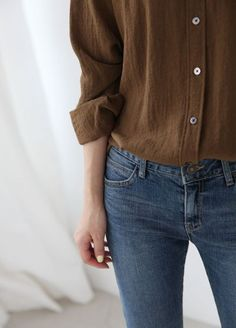 Brown natural material button down top with jeans are perfect for summer