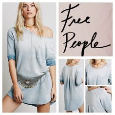 """Free People Oversized Ombré Distressed Tunic. NWT. Free People Oversized Distressed Tanna Peached Out Bliss Ombré High Low Tunic, linen/polyester/rayon, machine washable, 23"""" armpit to armpit (46"""" all around), 10"""" arm inseam, 30.5"""" front length, 32.5"""" back length, scoop neck, super soft washed pullover, oversized body with a breast pocket, pleat in back, slight high low hem, distressed tattered worn-look around neckline and hemline, measurements are approx.  Truest color is fourth pic frame…"""