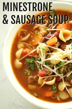 All the classic flavors of minestrone soup kicked up a notch with Italian sausage and topped with Parmesan cheese. At under 400 calories per serving, this thick and hearty soup loaded with vegetables will become a family favorite! Soup Recipes, Dinner Recipes, Cooking Recipes, Dinner Ideas, Entree Recipes, Chili Recipes, Cooking Ideas, Drink Recipes, Fall Recipes