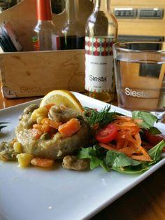 Artichoke siesta Artichoke, Chicken, Meat, Food, Artichokes, Eten, Meals, Cubs, Kai