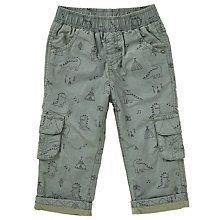 Buy John Lewis Baby Dinosaur Poplin Trousers, Khaki Online at johnlewis.com
