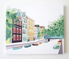 Amsterdam Bloemgracht  stitched cityscape canvas by lauraamiss, €75.00