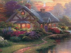 Summer Cottage by Thomas Kinkade - architecture, cottage, oil painting, summer