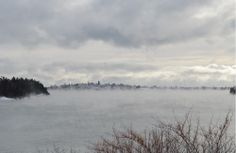 The town of Lubec, Maine on a winter day.  12/31/2013 - Photo by Jon Stence