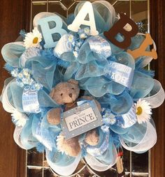 Welcome Baby Boy Deco Mesh Wreath by CreativeCarries on Etsy, $65.00