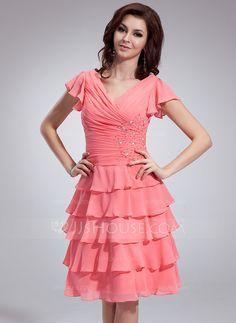 A-Line/Princess V-neck Knee-Length Chiffon Bridesmaid Dress With Beading Cascading Ruffles (022011119)