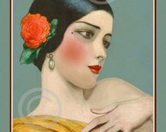 Art Deco Flapper Girl with dog Print by DragonflyMeadowsArt