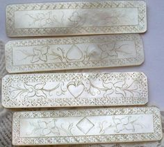 Mother of pearl etched gaming counters, 18th century
